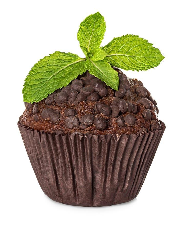 Muffin, κέικ σοκολάτας με τη μέντα που απομονώνεται στο λευκό στοκ εικόνα