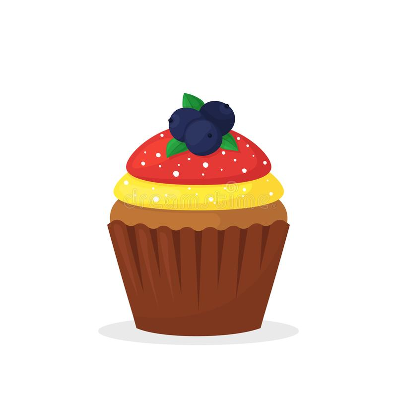 Muffin σοκολάτας με τα μούρα, την κίτρινη και κόκκινη κρέμα Γλυκά τρόφιμα, cupcake με το πάγωμα του επίπεδου διανυσματικού εικονι διανυσματική απεικόνιση