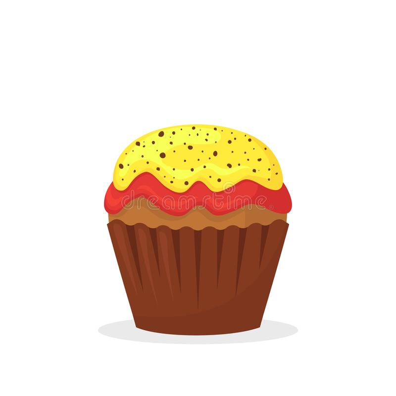 Muffin σοκολάτας με την κίτρινη και κόκκινη κρέμα Γλυκά τρόφιμα, cupcake με το πάγωμα του επίπεδου διανυσματικού εικονιδίου διανυσματική απεικόνιση