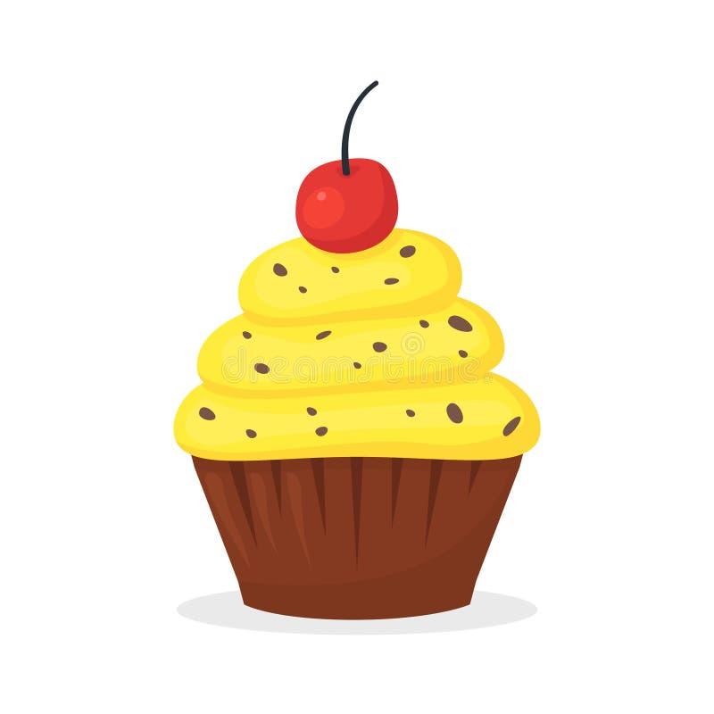 Muffin σοκολάτας με την κίτρινη κρέμα και κεράσι στην κορυφή Γλυκά τρόφιμα, cupcake με το πάγωμα του επίπεδου διανυσματικού εικον διανυσματική απεικόνιση