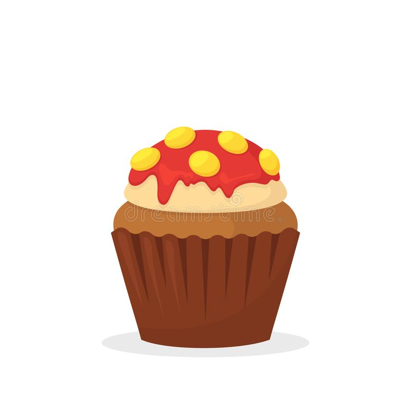 Muffin σοκολάτας με την κρέμα βανίλιας, το κόκκινο πάγωμα και τις κίτρινες καραμέλες Γλυκά τρόφιμα, cupcake με το πάγωμα του επίπ απεικόνιση αποθεμάτων