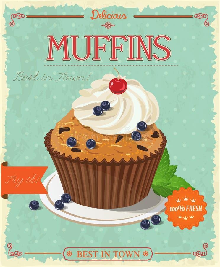 Muffin ai mirtilli di vettore illustrazione di stock