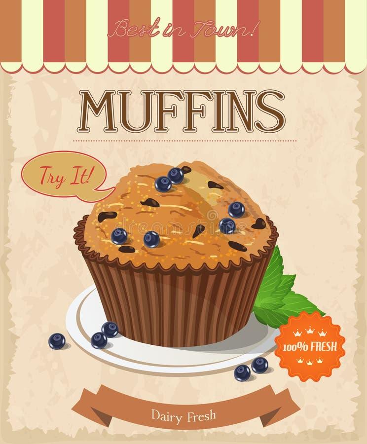 Muffin ai mirtilli di vettore Fondo isolato illustrazione vettoriale