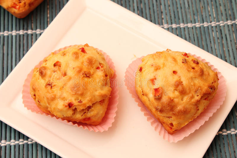 Muffin with bacon and cheese royalty free stock images
