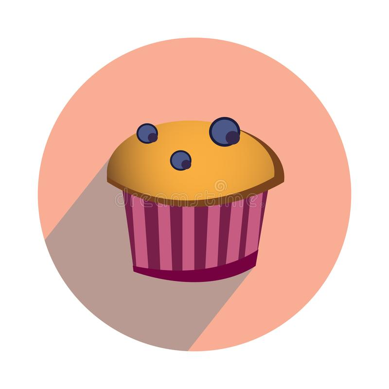 Muffin with berries on white background flat royalty free illustration