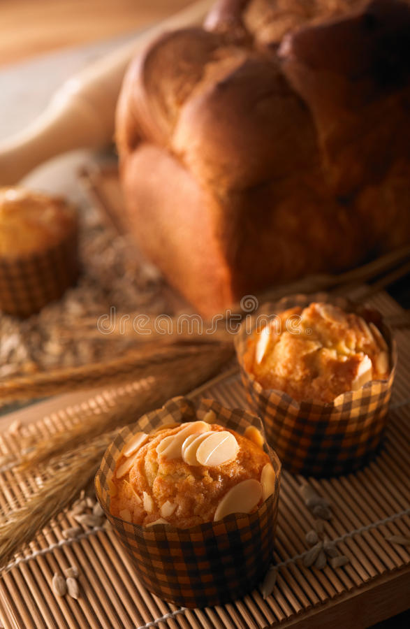 Muffin and bread royalty free stock images