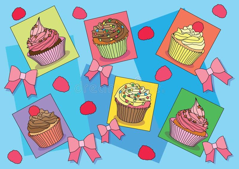 Muffin bugar på bakgrundsillustrationvektor stock illustrationer