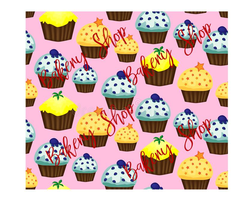 Muffin or cake with cream and cherry. Colored flat illustration isolated on white background with vintage inscription. Muffin or cake with cream and cherry royalty free illustration