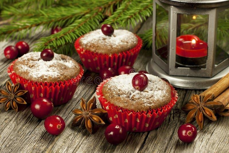 Muffin casalinghi di Natale fotografie stock libere da diritti
