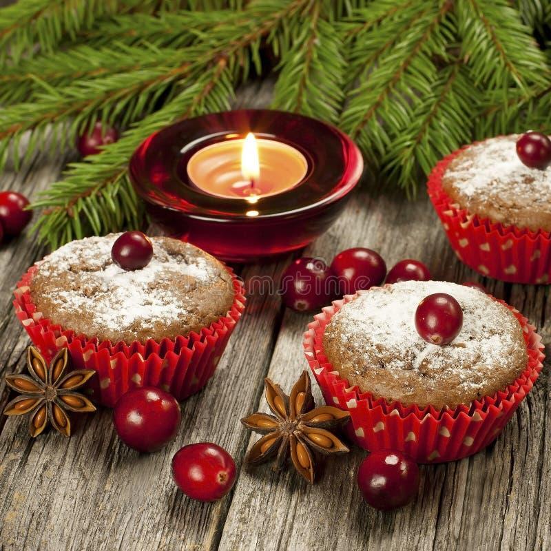Muffin casalinghi di Natale fotografia stock libera da diritti