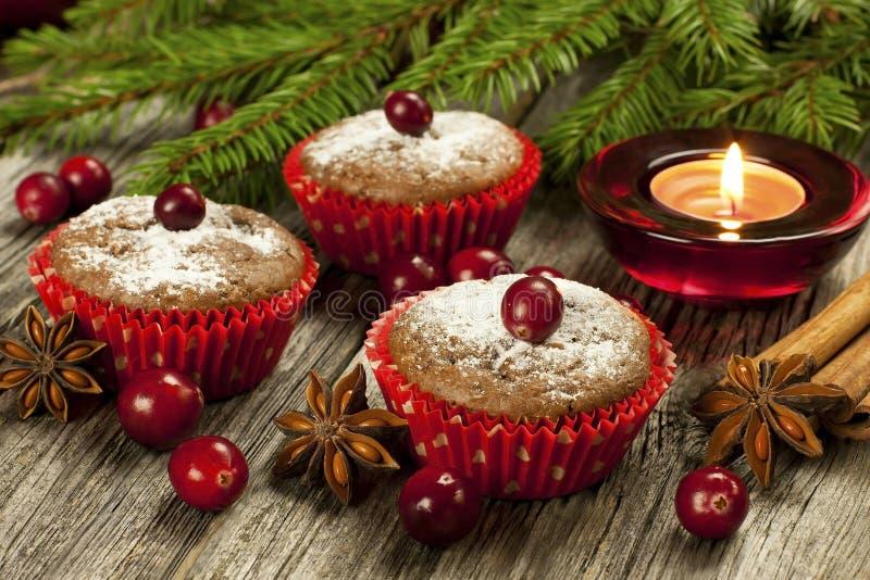 Muffin casalinghi di Natale fotografia stock