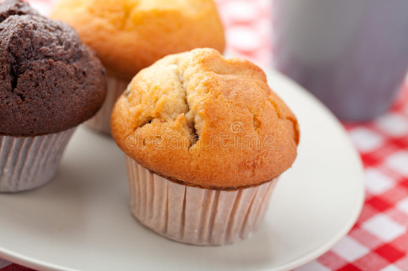 Download Muffin On Checkered Tablecloth Stock Photo - Image: 14530636