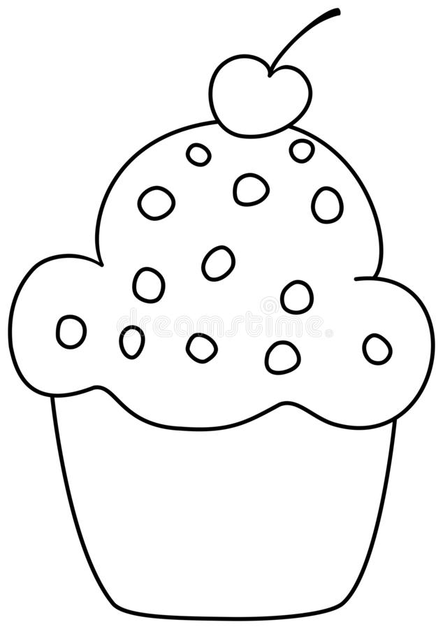 Muffin with cherry icon. Outline cupcake clipart. Vector illustration royalty free illustration