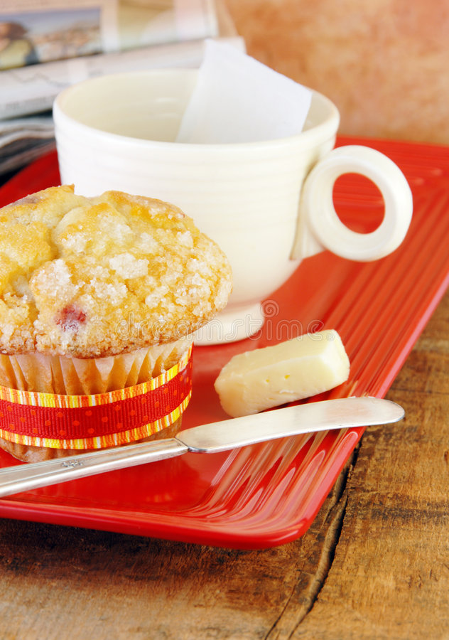 Muffin and Coffee On a Rustic Wood Table stock photo