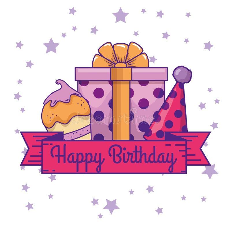 Muffin con il cappello del partito e del presente al compleanno illustrazione di stock