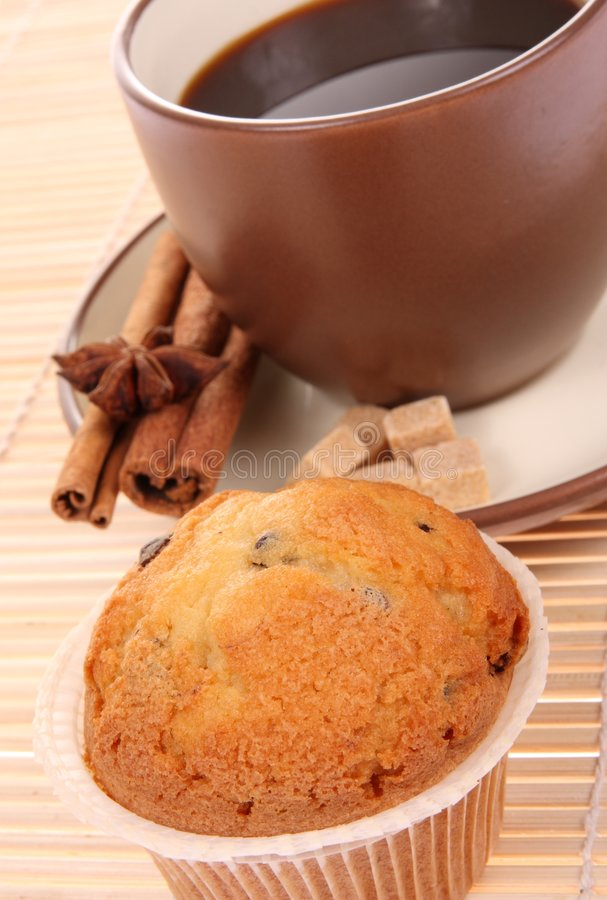 Muffin with cup of coffee stock photo