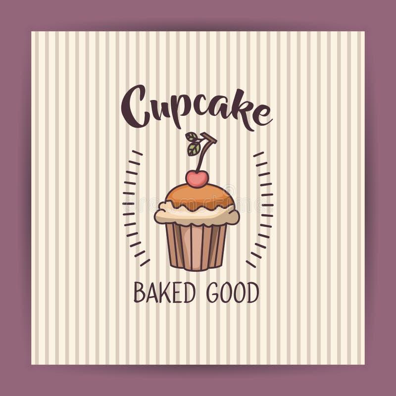 Muffin des Bäckereilebensmitteldesigns stock abbildung