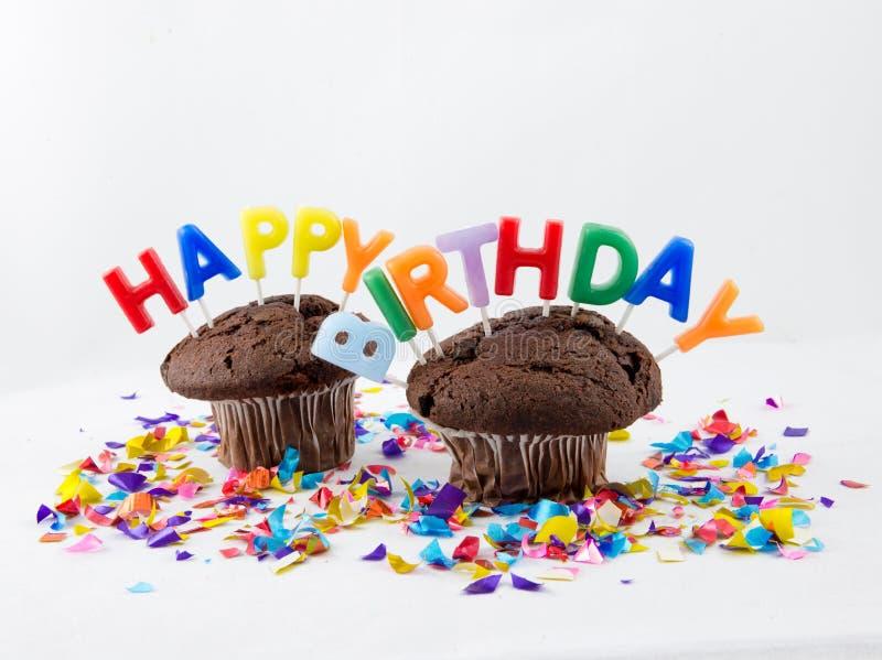 Muffin di compleanno fotografie stock libere da diritti