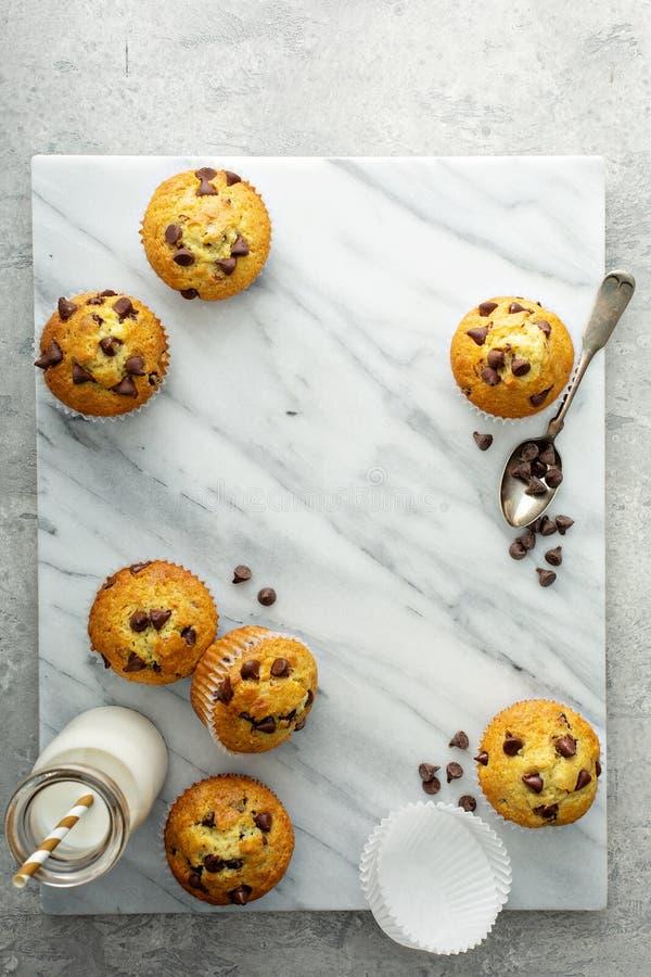 Muffin di pepita di cioccolato con latte fotografia stock libera da diritti