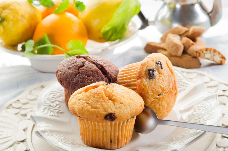 Muffin on dish. On restaurant table royalty free stock photography