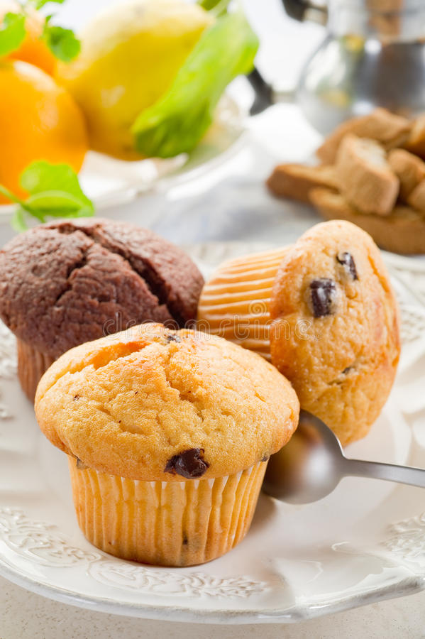 Muffin on dish. On restaurant table stock photo