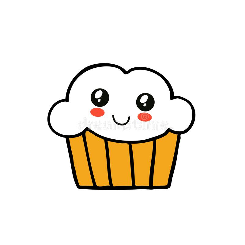 Muffin doodle icon. Vector illustration stock illustration