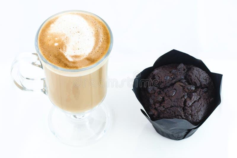 Muffin en koffie latte stock fotografie