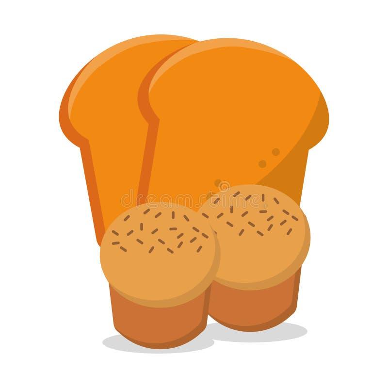 Muffin geschnittenes Brot frisch und Nahrungsfrühstück vektor abbildung