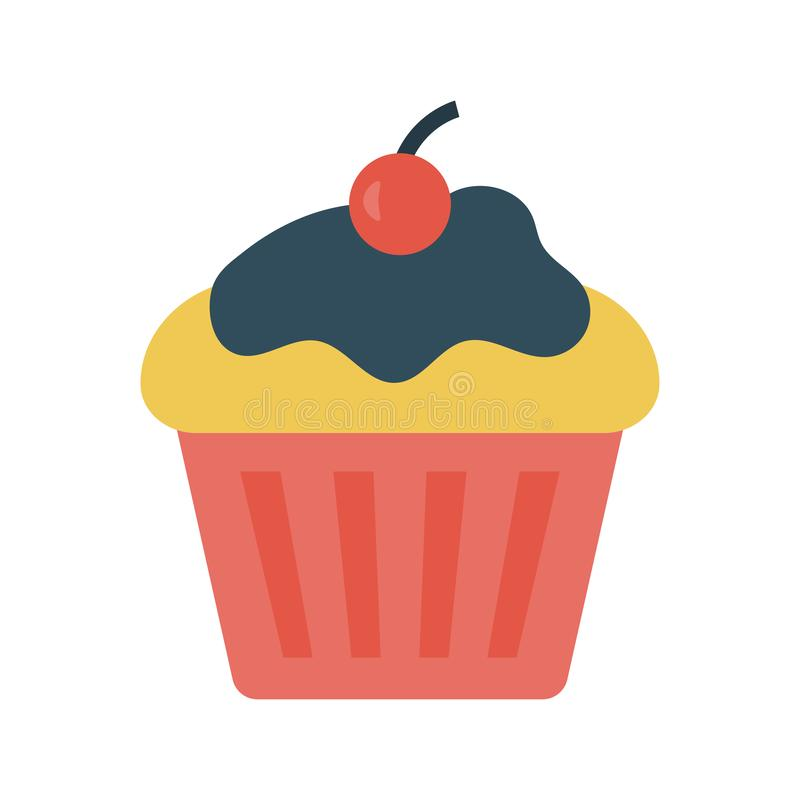 Muffin glyph flat vector  icon royalty free illustration