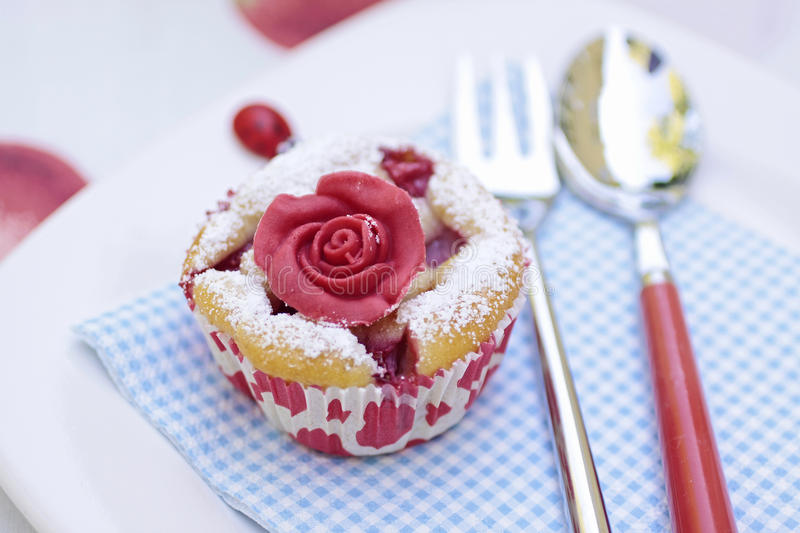 Download Muffin with marchpane rose stock photo. Image of love - 24748708