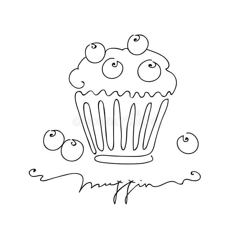 Muffin med blåbäret som isoleras på vit bakgrund För vektorillustration för hand utdragen linje konststil royaltyfri illustrationer