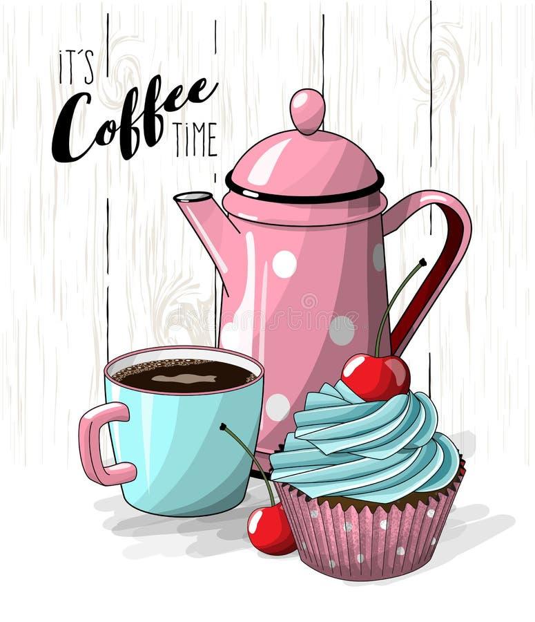 Muffin med den blåttkräm och körsbäret, koppen kaffe och rosa te lägger in på enkel vit trätextur, illustration royaltyfri illustrationer