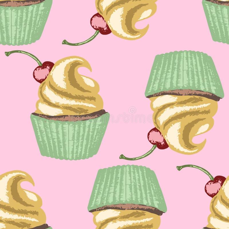 Muffin med den piskade kräm och körsbäret på rosa bakgrund royaltyfri illustrationer