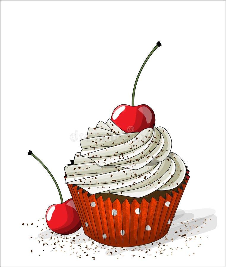 Muffin med den vitkräm och körsbäret på vit bakgrund, illustration stock illustrationer