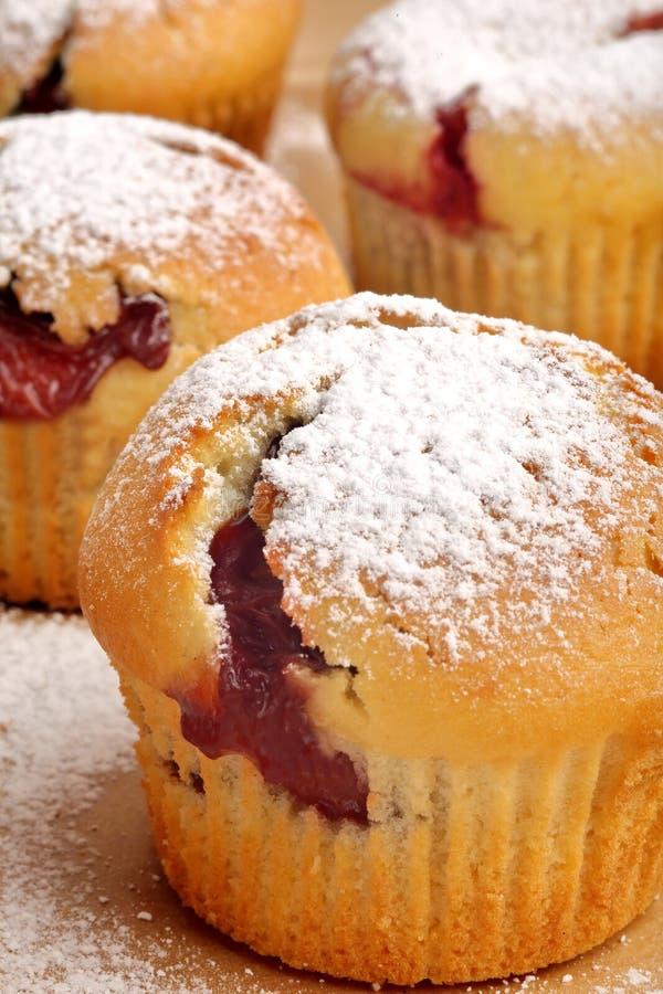Muffin med driftstopp som strilas med pudrat socker på trämagasinet royaltyfri foto