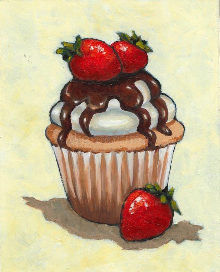 Muffin med jordgubbar, choklad, målning, matkonst royaltyfri bild