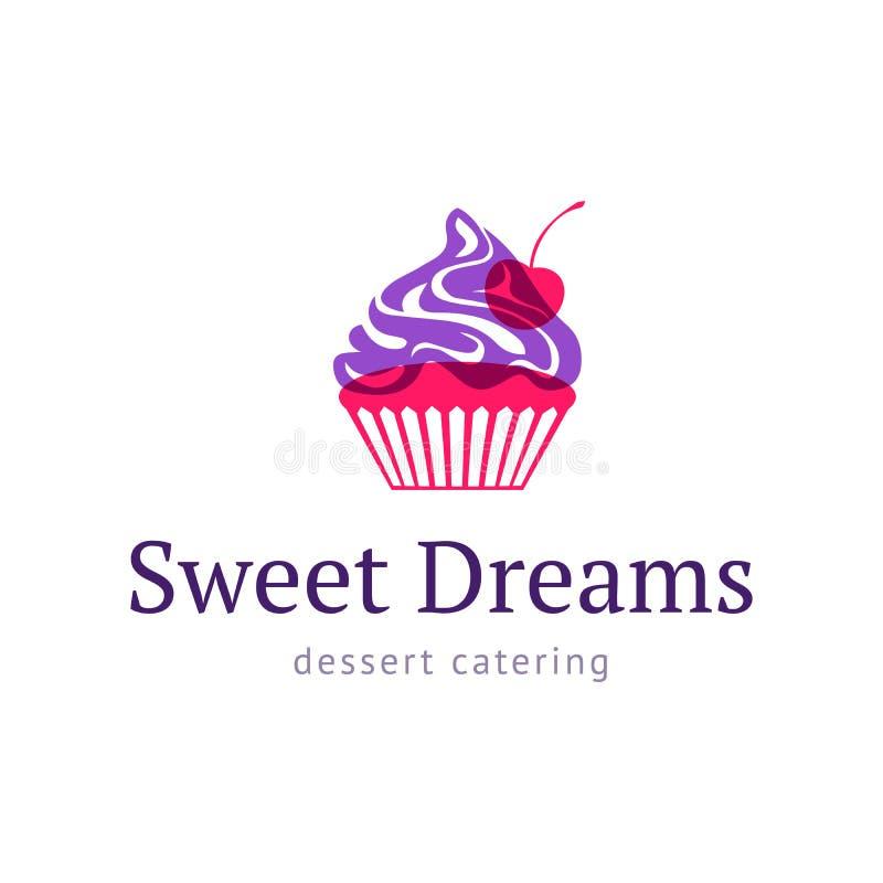 Muffin med körsbäret Logosötsaken shoppar vektor illustrationer
