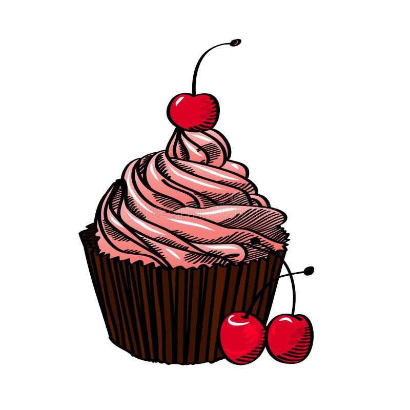 Muffin med körsbäret som isoleras på vit bakgrund, vektorillustration royaltyfri illustrationer