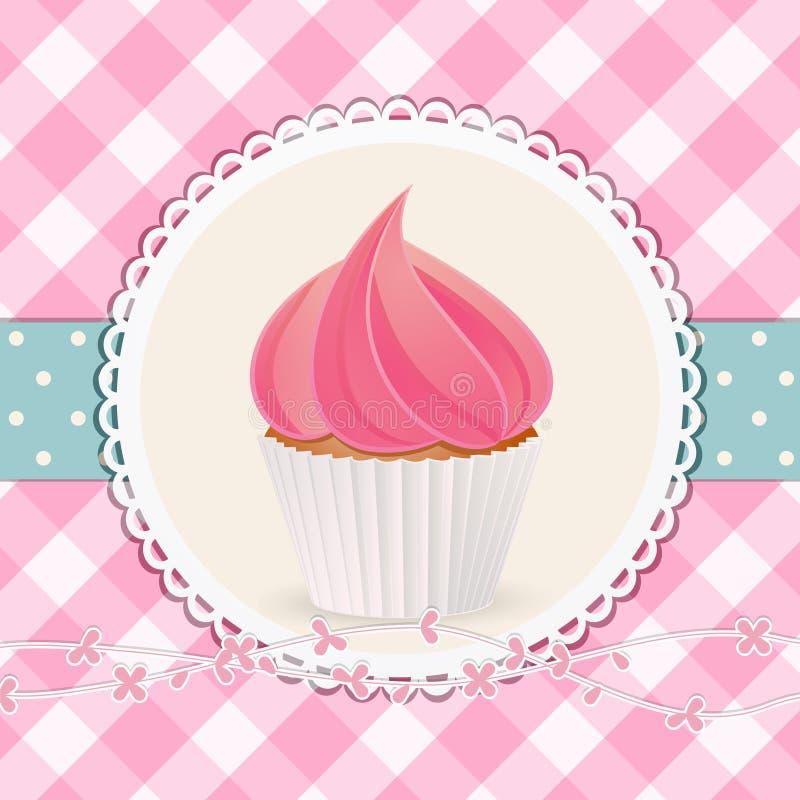 Muffin med rosa isläggning på rosa ginghambakgrund royaltyfri illustrationer