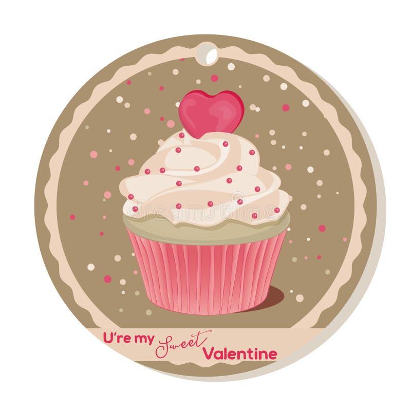 Muffin med vaniljkräm och rosa färger sockrar hjärta för valentindag Hälsningkort, etikett eller klistermärke för söt valentin stock illustrationer