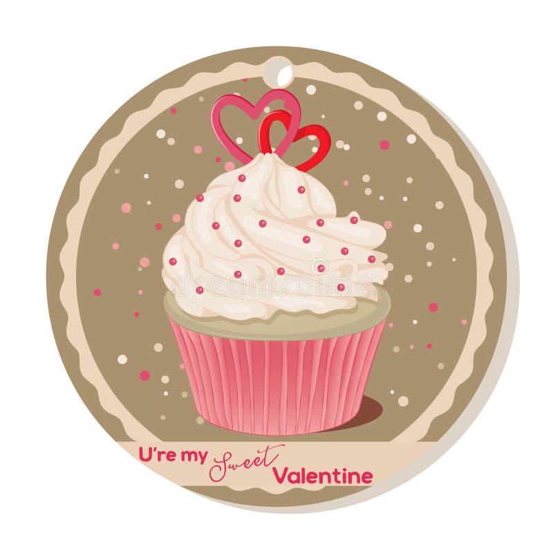 Muffin med vaniljkräm- och sockerhjärtor för valentindag Hälsningkort, etikett eller klistermärke för söt valentin royaltyfri illustrationer