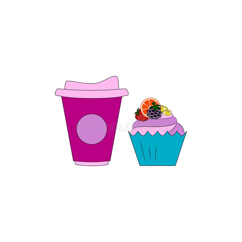 Muffin met room en vruchten Koffie of thee met dessert stock illustratie