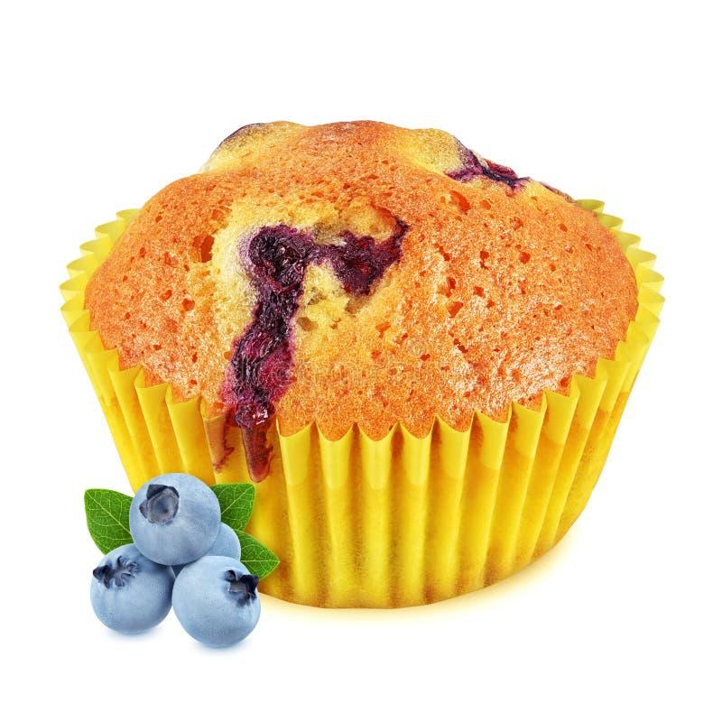 Muffin mit der Blaubeere lokalisiert auf weißem Hintergrund stockbilder