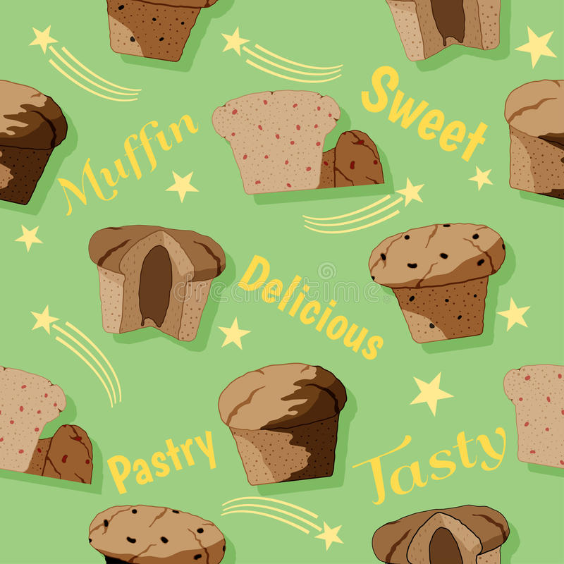Muffin naadloos patroon stock foto
