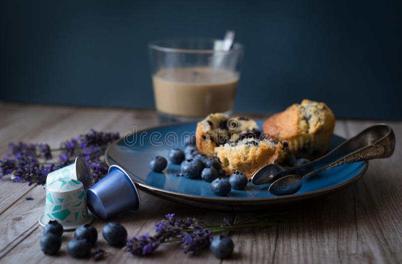 Muffin with nespresso stock photography