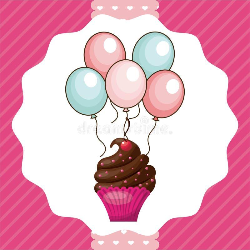 Muffin- och ballongsymbol lycklig födelsedagdesign som stylized swirlvektorn för bakgrund det dekorativa diagrammet vågr vektor illustrationer
