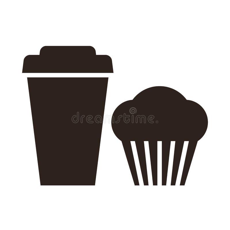 Muffin och kaffe som går symbol vektor illustrationer