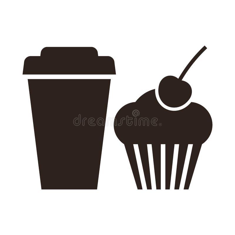 Muffin och kaffe som går symbol royaltyfri illustrationer