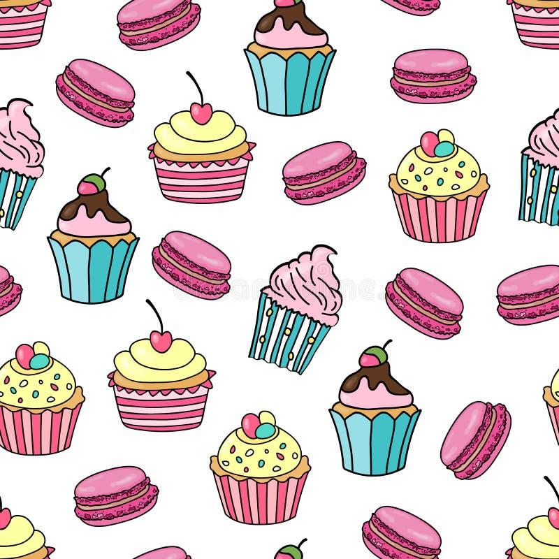 Muffin- och makronbakgrund Sömlös modell med den olika muffin och makron på vit bakgrund sött royaltyfri illustrationer