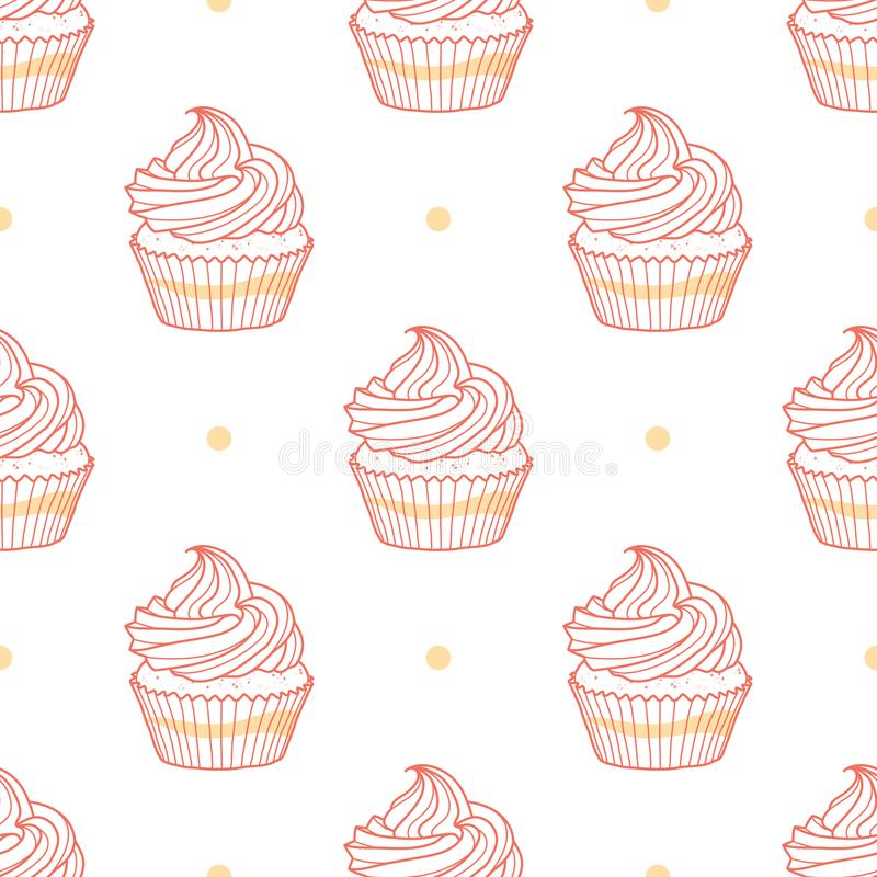 Muffin och prickar som är slumpmässiga på vit bakgrund stock illustrationer